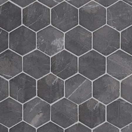 Hexagon grå marmor, 60x60mm