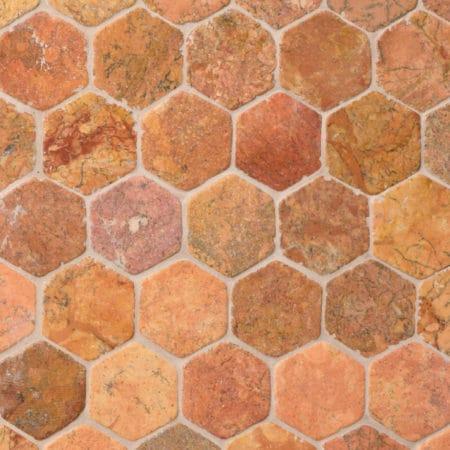 Hexagon Terrakotta marmor, 60x60mm