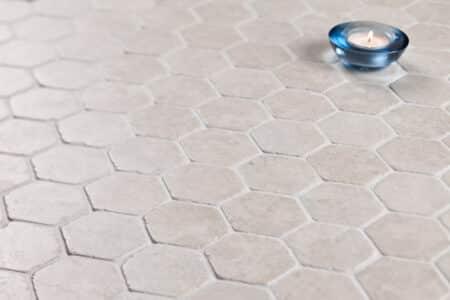 Hexagon vit marmor, 60x60mm