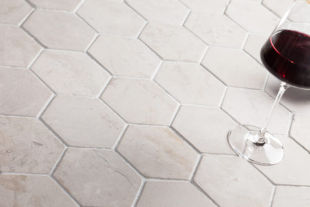 HEXAGON vit marmor kakel 100x100mm