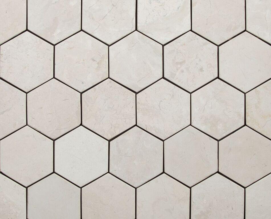 Hexagon White 100x100mm väggplatta