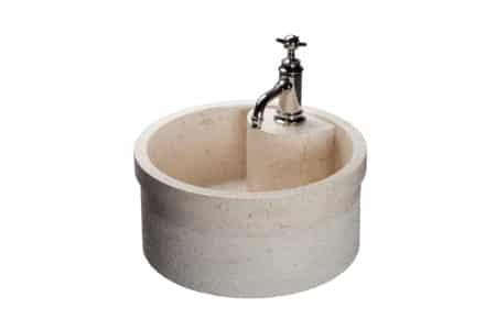 Natursten tvättställ 'Soyam' vit