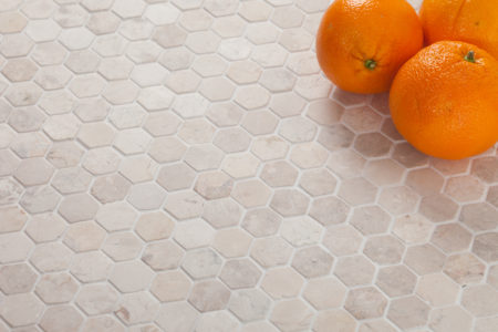 Hexagon Mini vit marmor mosaik