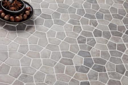 Pentagon Mini ljusgrå marmor mosaik